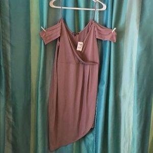 Violet cold shoulder dress